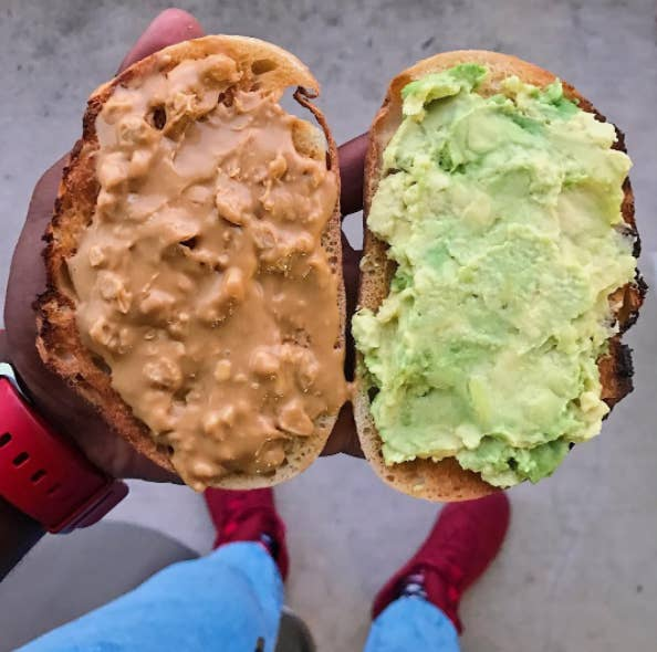 """""""This may sound counterintuitive but when trying to lose weight, many people make the mistake of cutting fat from their diet, which can leave them feeling super hungry, cranky, and less likely to stick to the plan long-term (which is key!). Adding in healthy fats boosts satiation and keeps you from noshing on simple carbs and sugar, or giving up too soon. Try to incorporate healthy fat throughout the day. I like to start my day with an avocado-filled green smoothie, throw nuts on my salad for lunch, and sip on a mid-afternoon turmeric latte.""""—Liz Moody, healthy food blogger and founder of Sprouted Routes"""