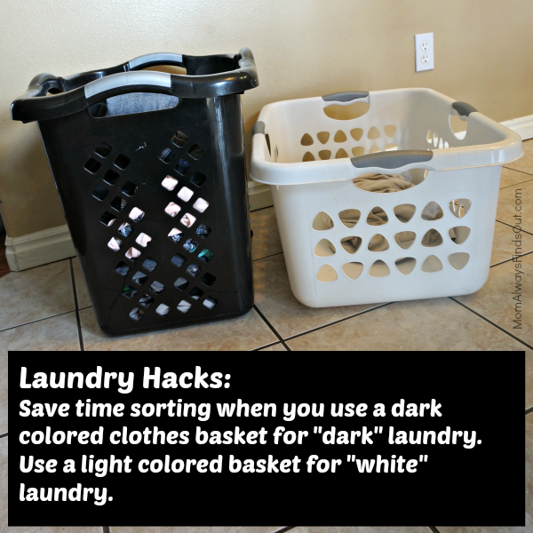 And lastly, buy black and white laundry bins to make sorting with kids SUPER easy.