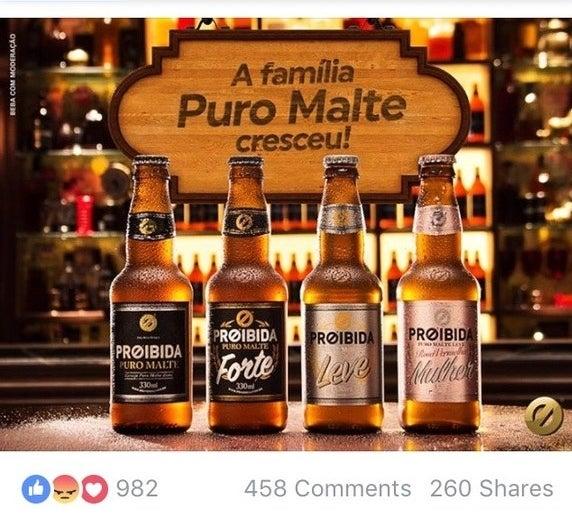 """Nesta terça (3), a cerveja Proibida postou no Facebook sobre o lançamento de uma nova linha de cervejas Puro Malte: tem a Puro Malte, a Forte, a Leve e a Rosa Vermelha Mulher, que de acordo com a descrição é """"delicada, perfumada e feita especialmente para a mulher""""."""