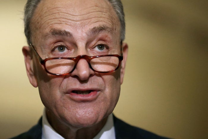 Senate Minority Leader Charles Schumer (D-NY) talks to reporters at the U.S. Capitol.