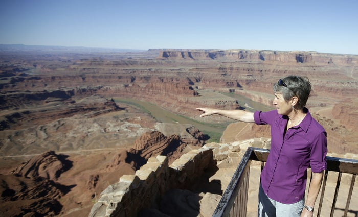 Interior Secretary Sally Jewell looks from Dead Horse Point during a tour near Moab, Utah, on July 14.