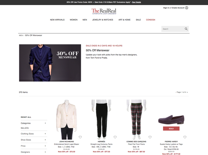 The Real Real takes luxury consignment to the next level with authenticity inspections for each designer item performed by an in-house team of apparel experts. The site also offers special deals to First Look Members — including monthly promotions and early access to sales — for an additional $10 a month. Consigning your own items with the site can also earn you credit toward a The Real Real purchase. Departments: Women's, Men's, Jewelry, and Watches