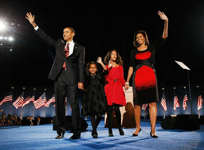 President-elect Obama stands on stage with Michelle, Malia, and Sasha during an election-night gathering in Chicago on Nov. 4, 2008. Obama defeated Republican nominee Sen. John McCain by a wide margin in the election to become the first African-American US president-elect.