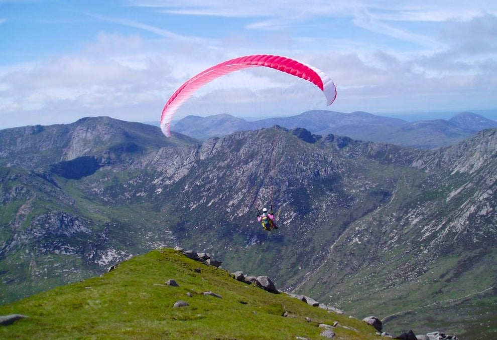Paraglide over Goat Fell on the Isle of Arran.
