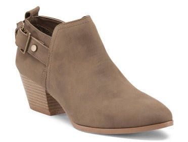 And a pair of taupe buckled ankle booties that'll go with pretty much everything.