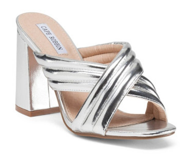 A metallic pair of heeled mules that'll turn heads.