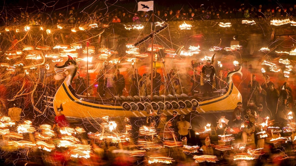Take part in the Up Helly Aa fire festival in Shetland.