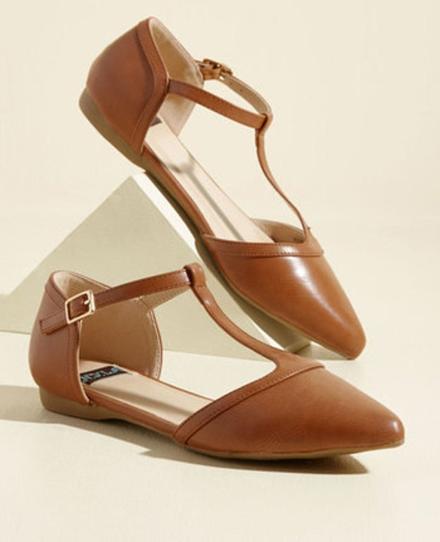 A pair of pointed T-strap flats that'll go great with skirts and cuffed denim.