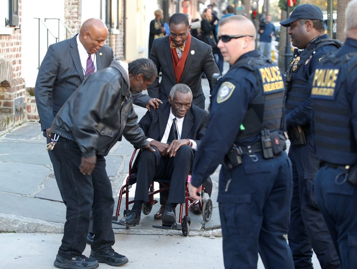 John Pinckney, the father of Emanuel Church shooting victim Rev. Clementa Pinckney, leaves the Charleston Federal Courthouse in December.