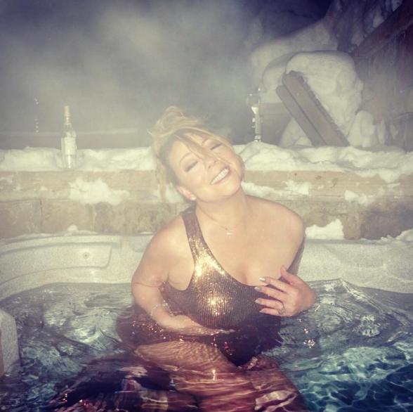 Mariah Carey in a hot tub: