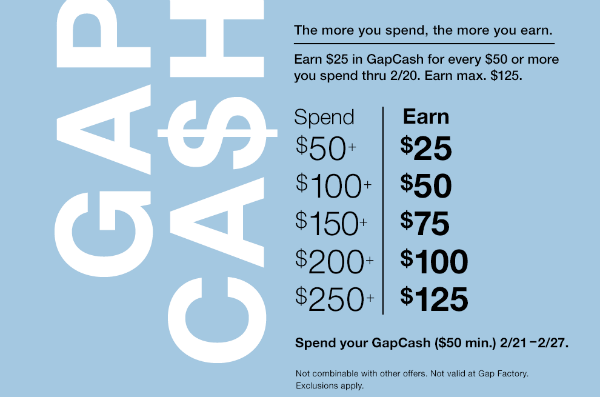 "Time your purchases to earn store ""cash"" promotions like Gap Cash or Hot Topic's Hot Cash."