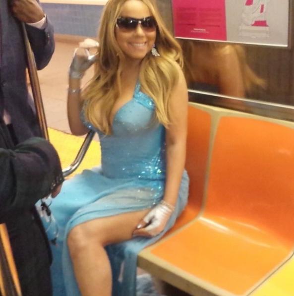 Mariah Carey riding the subway: