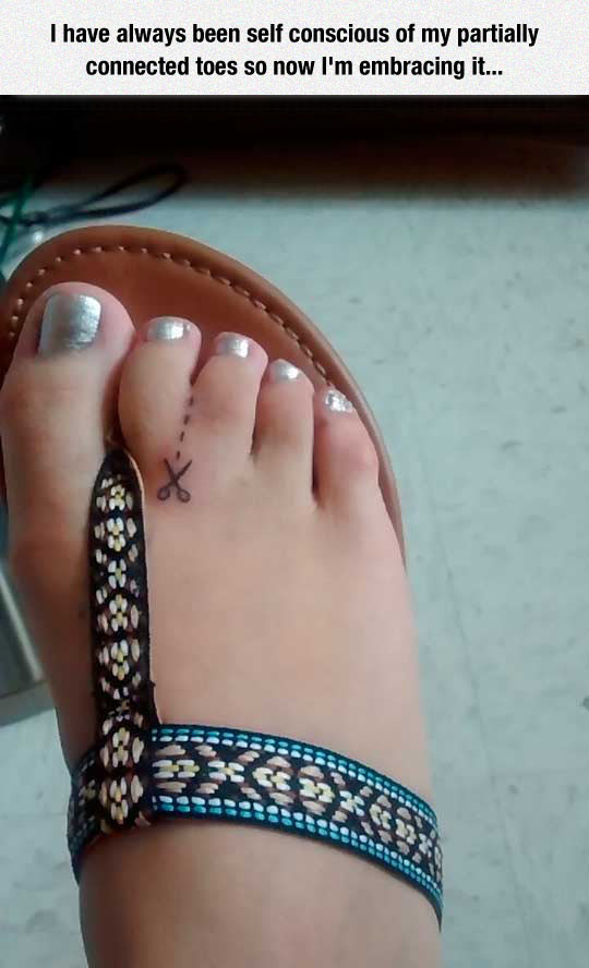 The most clever toe tattoo out there: