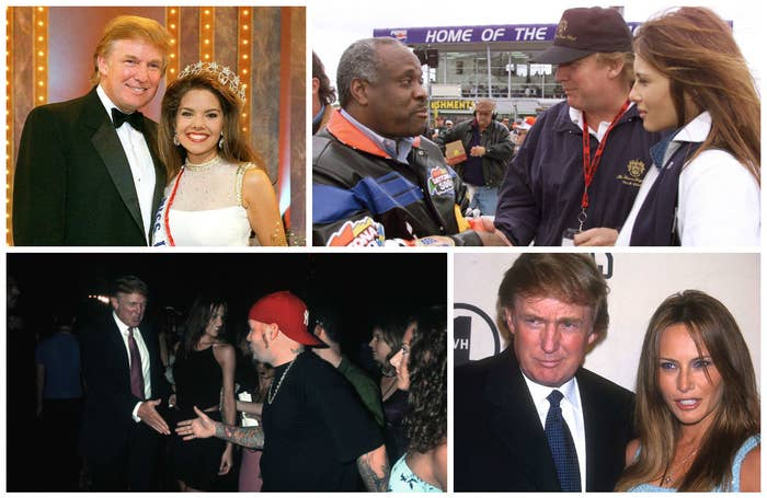 Clockwise from top left: Trump with Miss USA in February 1999; Trump with Supreme Court Justice Clarence Thomas at the Daytona 500 in February 1999; Trump and Melania Knauss at VH1's Divas Live in April 1999; Trump with Limp Bizkit singer Fred Durst at the MTV Video Awards in September 1999.