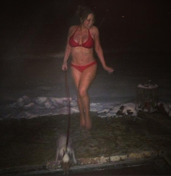 Walking the dog for Mariah Carey: