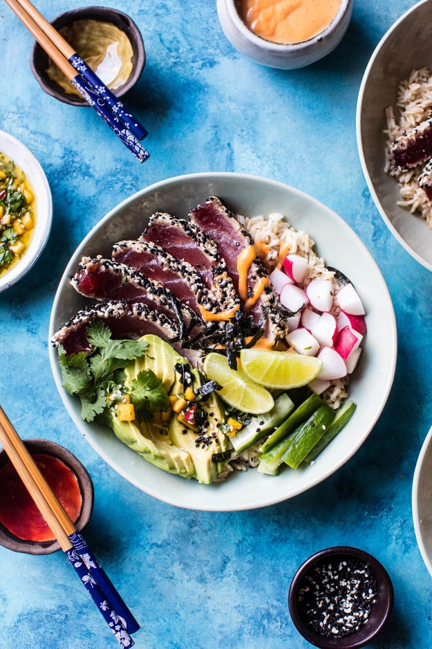 Spicy Brown Rice Seared Tuna Roll Bowl
