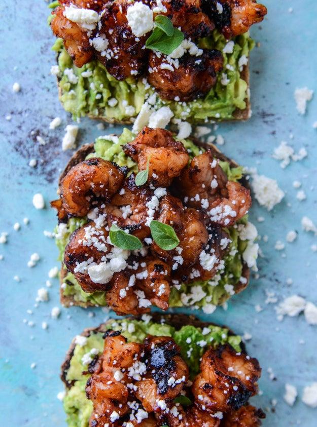 BBQ Shrimp and Lime Avocado Toast