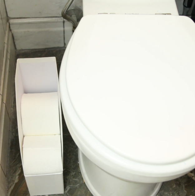 1. Use a plastic or paper file folder to store your toilet paper rolls.