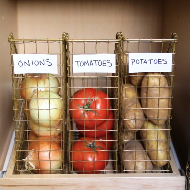 2. Use clear or wire file holders to house veggies that will otherwise run away from you.