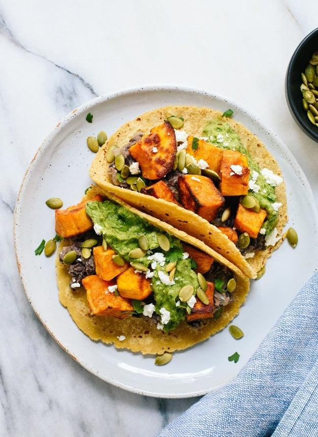 Sweet Potato and Black Bean Tacos With Avocado Pepita Dip
