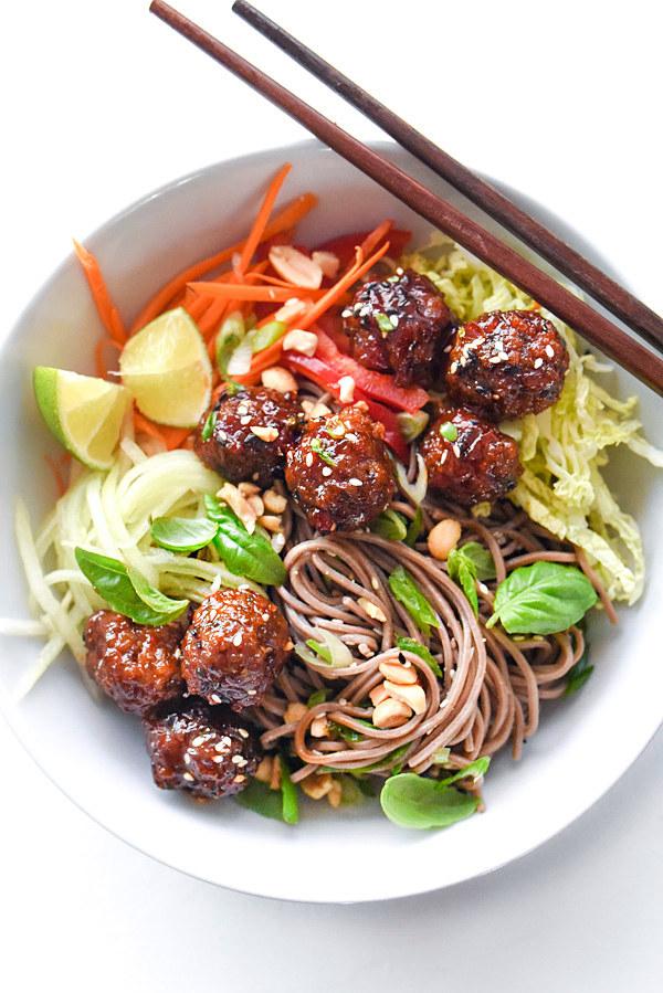 Soba Noodles With Sriracha Meatballs