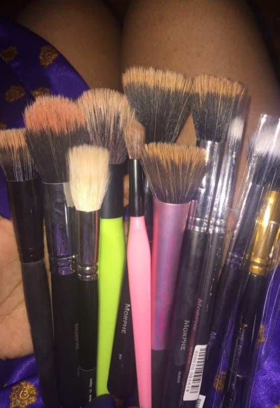 Used your face brushes for way too long before washing them.