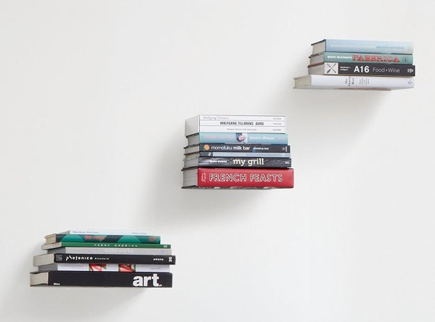 Floating bookshelves that you can't even tell are there.