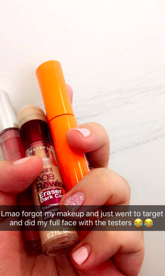 And put gross store tester products directly on your face.