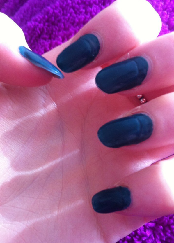Painted over chipped polish or in the space between your overgrown acrylics and natural nail.