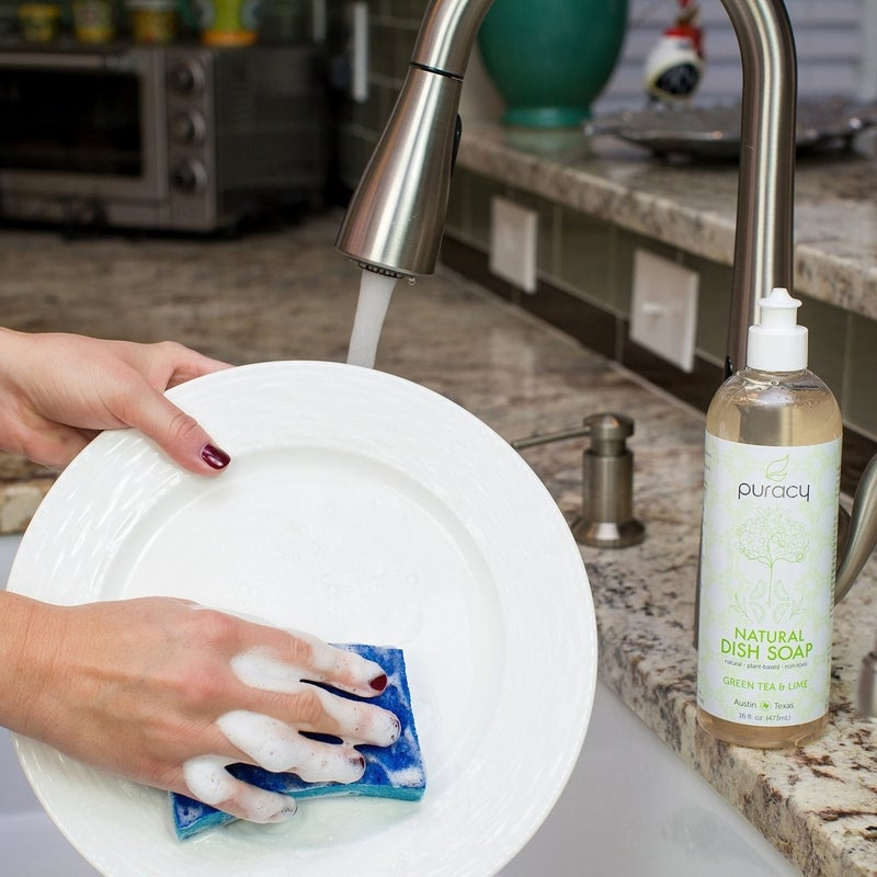 """Promising review: """"WOW! After reading so many positive reviews, it sounded a little too good to be true. But this dish soap can really cut through grease, and you don't need a lot at all to clean your dishes. Definitely not more than other commercial non-natural soap requires. Those non-natural soaps destroy my skin, but not this one. This one just leaves my skin soft; no more cracking on my hands! It's almost unbelievable how good it is. I am so happy I found this product!"""" —MikanPrice: $6.64And check out our picks for the best kitchen sponges on BuzzFeed Reviews!"""