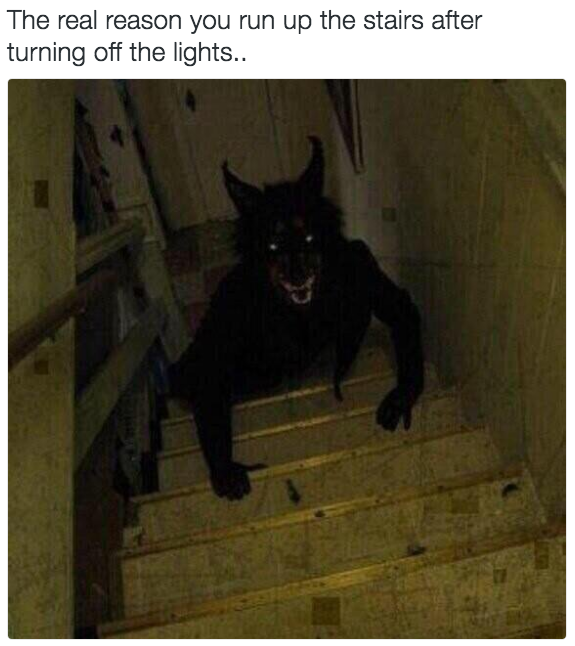 Or turning back as you run up the stairs and seeing this: