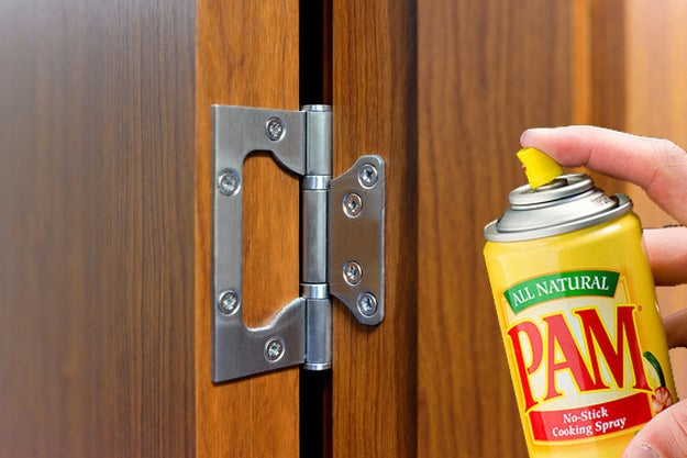 If you don't have oil, try using some PAM Cooking Spray to keep your doors from squeaking.