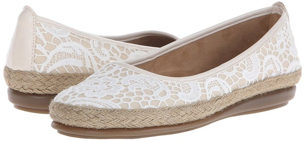 Lace-overlay Aerosoles espadrille flats for kicking around.
