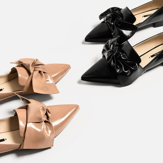 And pointy toe flats with big, fashionable bows.