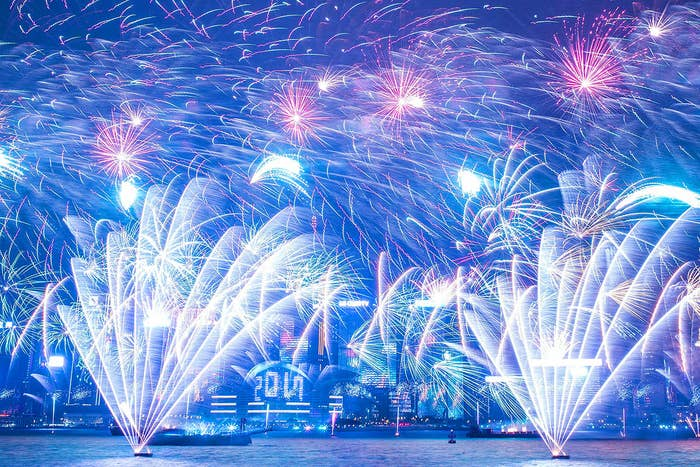Fireworks illuminate the Hong Kong skyline during the city's New Year countdown celebrations on Jan. 1.