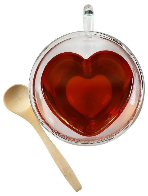 Heart-shaped, double-walled glass tea cups.