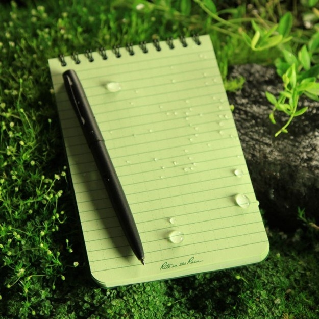 A waterproof notepad so rain will never stop you from writing.
