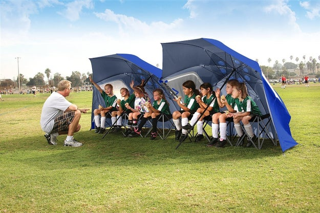 A rugged tent-like umbrella to throw some shade.