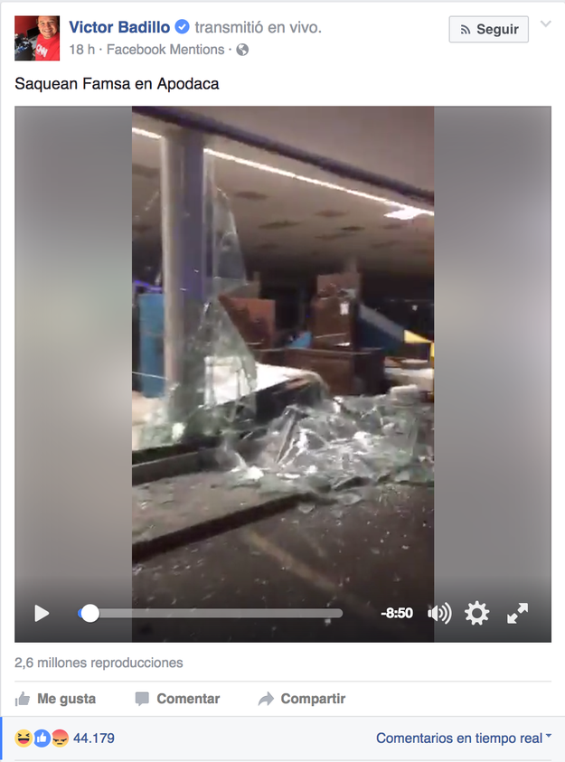 El jueves 5 de enero en Apodaca (Nuevo León), ocurrió un saqueo en una tienda Famsa y Badillo inició una transmisión vía Facebook Live para reportarlo.