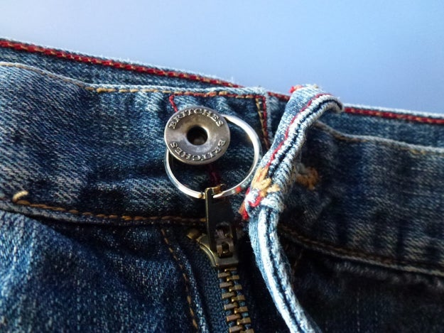 Fix that pesky defective zipper on your jeans with a key ring.