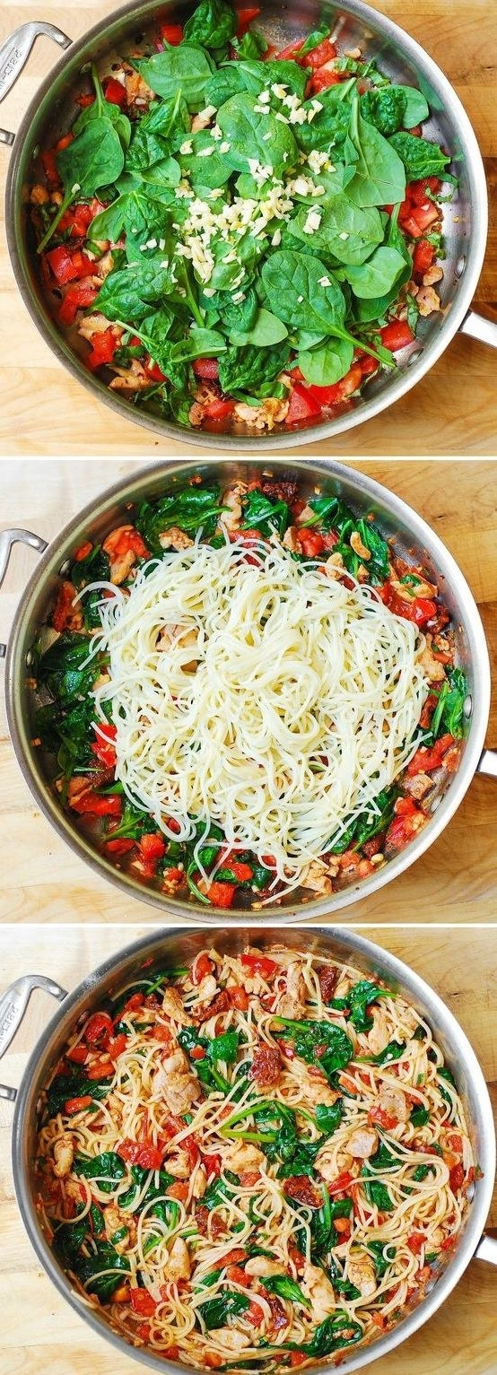 Spaghetti With Chicken, Tomatoes, and Spinach