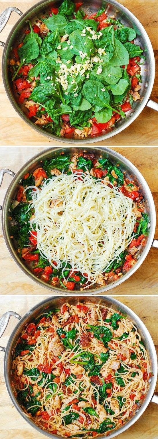 Before you swear off pasta, know that carbs aren't necessarily bad for you, and when they're paired with fresh vegetables and protein — like in this recipe — that's even better. Recipe here.
