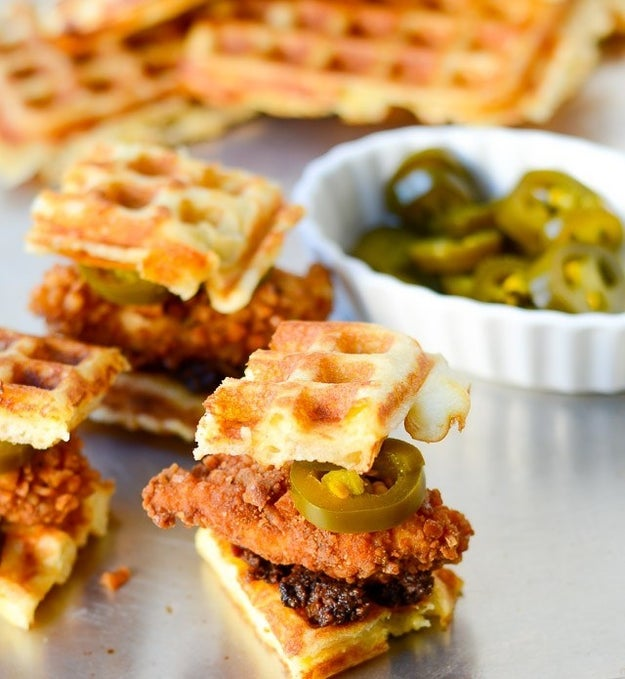 Pretzel Crusted Chicken and Cheddar Waffle Sliders with Bacon Jam