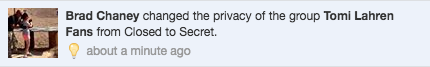 "A few minutes later, another administrator changed the status of the group from ""Closed"" to ""Secret."""