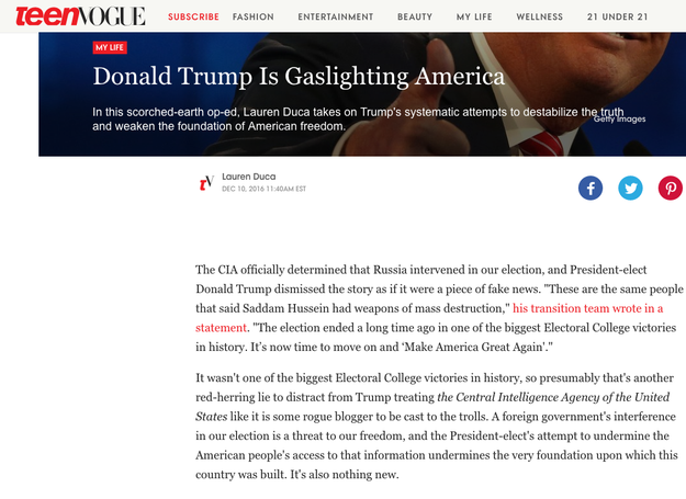 Last month, Duca had a massive viral hit when she penned a Teen Vogue opinion piece that argued Donald Trump had conned the American public.
