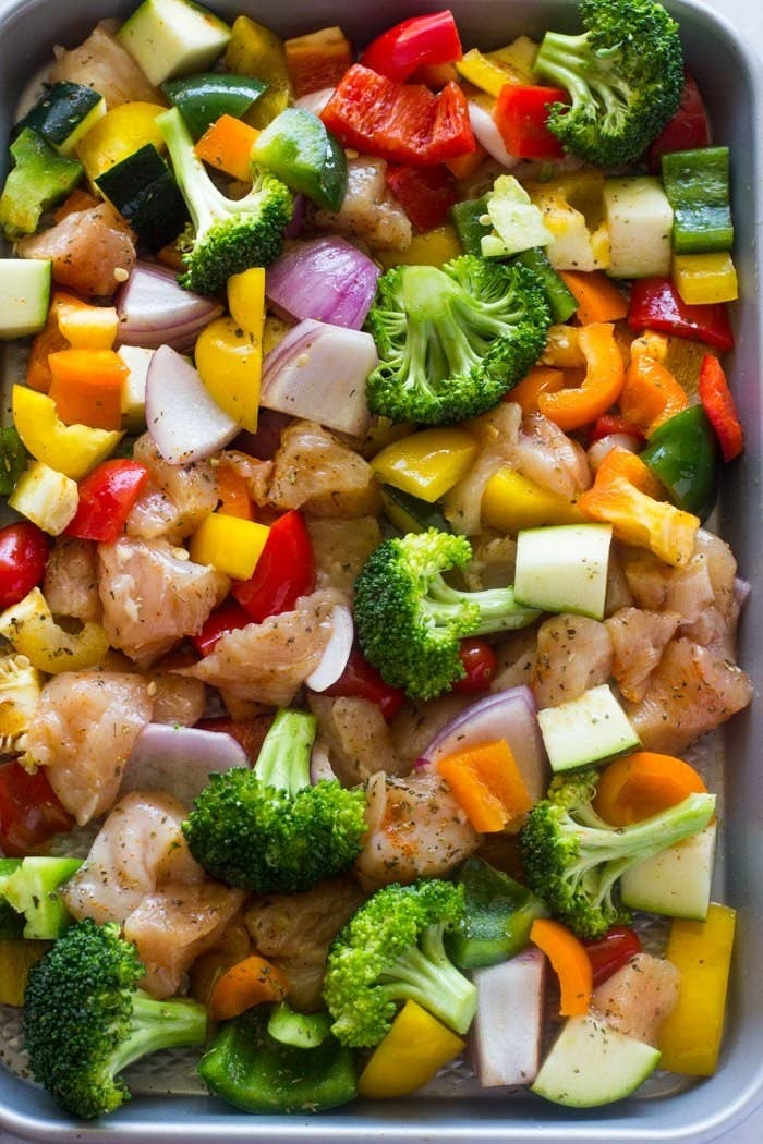 Sheet pan dinners = the ultimate weeknight MVP. And cubing the chicken first means that everything cooks through in about 15 minutes. Recipe here.