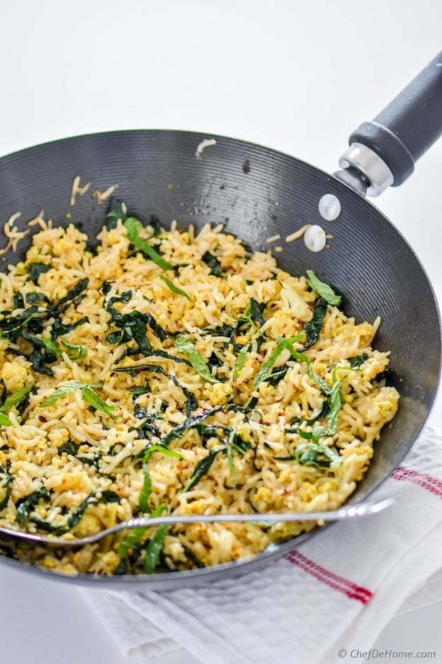 Vegan Fried Rice With Kale & Tofu