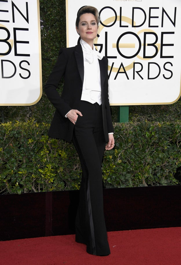 Evan Rachel Wood — actress, musician, and Certified Badass — wore a fan-fucking-tastic suit to the Golden Globes tonight.