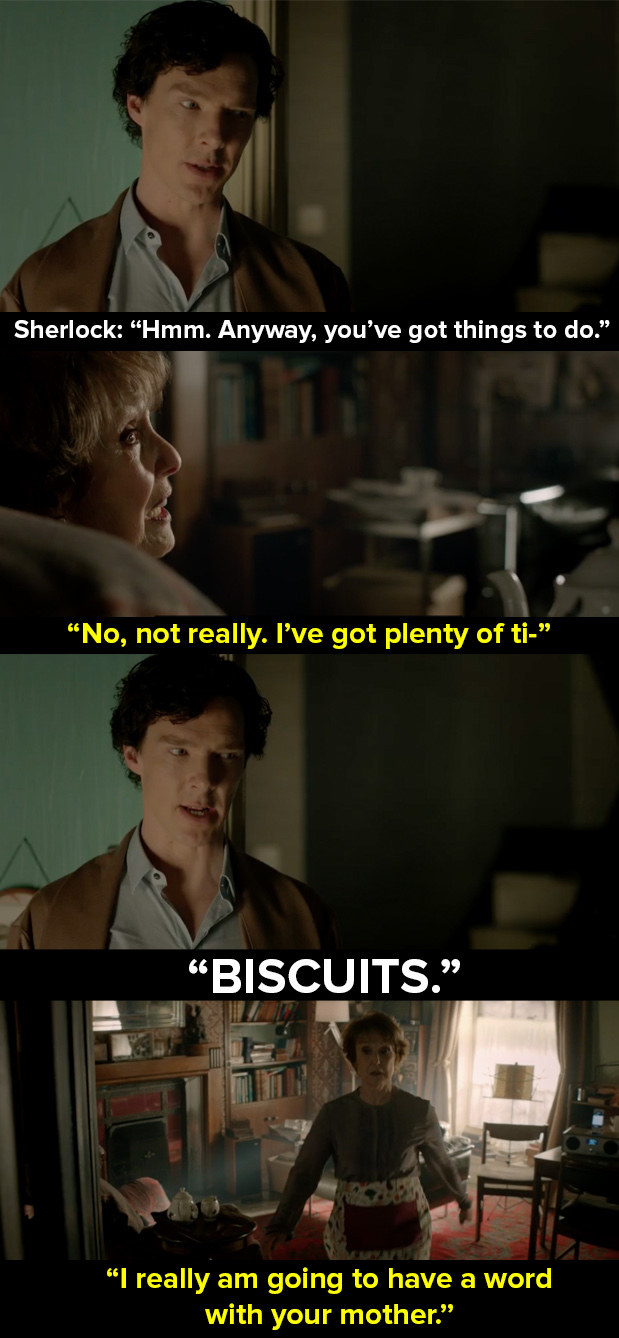 When Sherlock wanted biscuits but Mrs Hudson wouldn't stop talking about relationships.