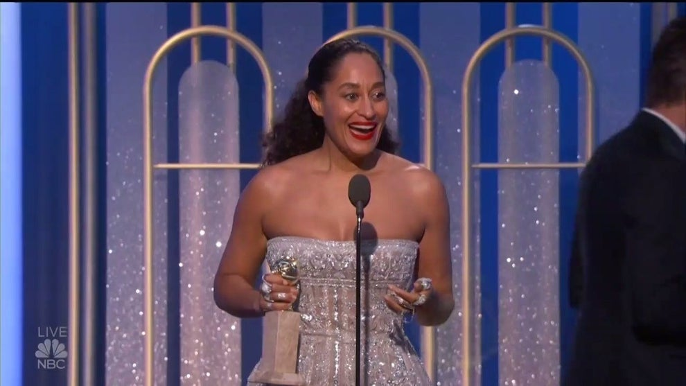 """Tracee Ellis Ross won Best Actress in a TV Comedy at the Golden Globes for her role on the ABC comedy Black-ish, and dedicated her win to """"women, women of color, and colorful people whose stories, ideas, thoughts are not always considered worthy and valid and important."""""""
